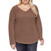 a.n.a Long Sleeve V Neck Pullover Sweater-Plus