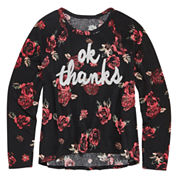 Arizona Light Weight Embellished Graphic Sweater - Girls 7-16 and Plus