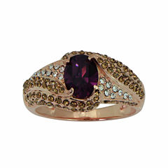 Womens Purple Crystal Gold Over Silver Cocktail Ring