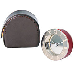 Natico Metal and Wood Travel Alarm Clock in Leather Case