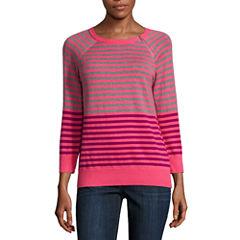 Liz Claiborne 3/4 Sleeve Pullover Sweater-Petites