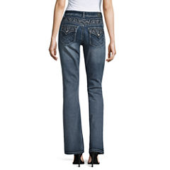 Love Indigo Embellished Back Flap Bootcut Jeans