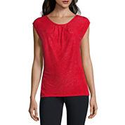 Liz Claiborne Long Sleeve Scoop Neck Knit Blouse-Talls