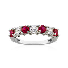 Lab-Created Ruby and White Sapphire Rhodium-Plated Ring