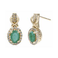 1/4 CT. T.W. Diamond and Genuine Emerald 10K Yellow Gold Drop Earrings