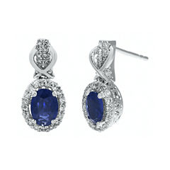 1/4 CT. T.W. Diamond and Genuine Sapphire 10K White Gold Drop Earrings