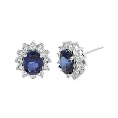Lab-Created Blue and White Sapphire Sterling Silver Starburst Earrings