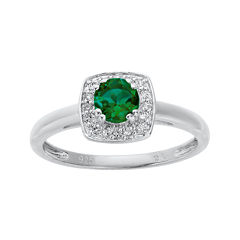 Lab-Created Emerald and Genuine White Topaz Sterling Silver Ring