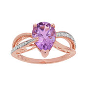Genuine Amethyst and Diamond-Accent 10K Rose Gold Ring