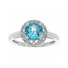 Genuine Blue Topaz Filigree Sterling Silver Ring