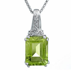 Genuine Peridot and Diamond-Accent 10K White Gold Pendant Necklace