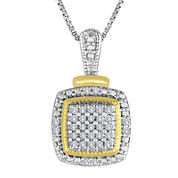 1/10 CT. T.W. Diamond Two-Tone Frame Pendant Necklace