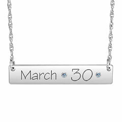 Personalized Birthstone Date Bar Necklace