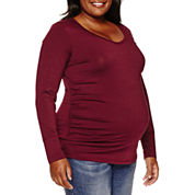 a.n.a Long Sleeve V Neck T-Shirt-Plus Maternity