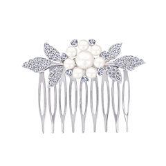 DiamonArt® Sterling Silver Freshwater Pearl Flower Hair Comb