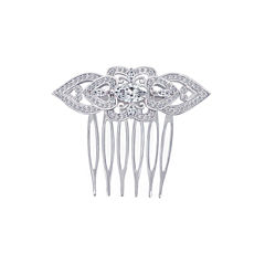 DiamonArt® Sterling Silver Cubic Zirconia Heart Hair Comb