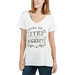 Short Sleeve V Neck Harry Potter Graphic T-Shirt