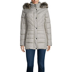 Liz Claiborne® Side Panel Puffer Jacket with Fur Hood