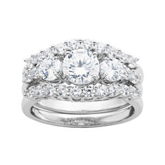 diamonart cubic zirconia sterling silver 3 stone bridal ring set - Jcpenney Jewelry Wedding Rings