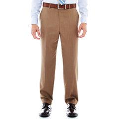 Stafford® Travel Tan Herringbone Flat-Front Suit Pants–Big & Tall