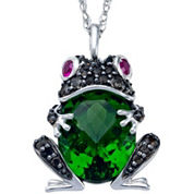Simulated Peridot and Lab-Created Ruby Frog Pendant