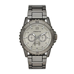 Claiborne® Mens Gunmetal Strap Watch