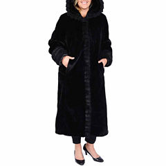 Excelled® Faux-Fur Long Solid Coat - Plus
