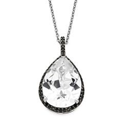 Lab-Created White Sapphire and Black Onyx Sterling Silver Pendant Necklace