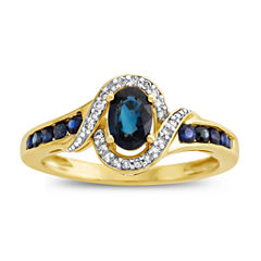 Womens Diamond Accent Blue Sapphire 10K Gold Cocktail Ring