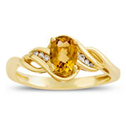 Womens Diamond Accent Yellow Citrine 10K Gold Delicate Ring