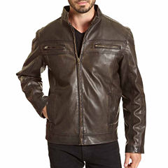 EXCELLED HOODED FAUX LEATHER JACKET
