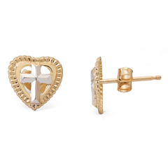 14K Yellow Gold Cross Heart Stud Earrings