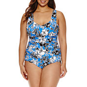 Trimshaper Floral One Piece Swimsuit - Plus
