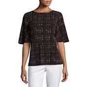 Worthington Short Sleeve Round Neck Knit Blouse-Petites