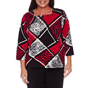 Alfred Dunner Wrap It Up 3/4 Sleeve Square Neck T-Shirt-Plus