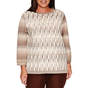 Alfred Dunner Long Sleeve Boat Neck Pullover Sweater-Plus