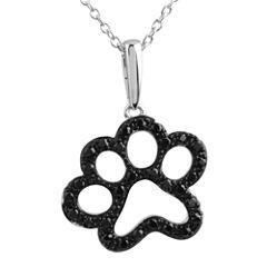 ASPCA® Tender Voices™ ⅓ CT. T.W. Color-Enhanced Black Diamond Paw Print Pendant Necklace