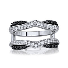 5/8 CT. T.W. White & Color-Enhanced Black Diamond Chevron Ring Wrap