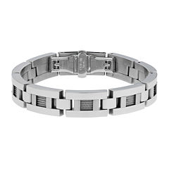 Mens Stainless Steel & Cable Link Bracelet