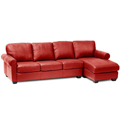 Leather Possibilities Roll-Arm 2pc. Left-Arm Sofa/Chaise Sectional