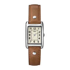 Timex® Elevated Classic Womens Rectangular Brown Leather Strap Watch T2N9059J