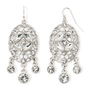 Liz Claiborne® Crystal-Accent Silver-Tone Chandelier Earrings