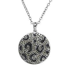 Animal Planet™ Crystal Sterling Silver Endangered Snow Leopard Pendant Necklace