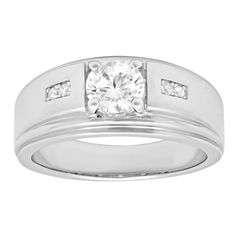 Mens White Cubic Zirconia Band
