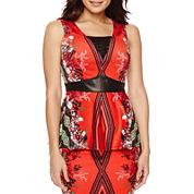 Bisou Bisou® Sleeveless Lace-Up Peplum Top