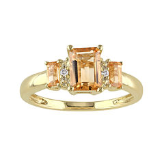 Genuine Citrine and Diamond-Accent 3-Stone Ring