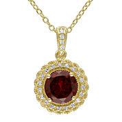 Genuine Garnet and 1/10 CT. T.W. Diamond Pendant Necklace
