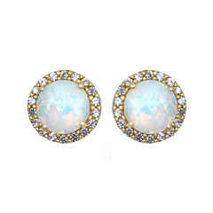 Lab-Created Opal and White Sapphire Halo Earrings