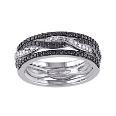 1/10 CT. T.W. White and Color-Enhanced Black Diamond Black Two-Tone Sterling Silver 3-pc. Ring Set