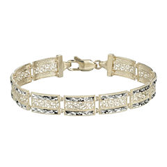 10K Two-Tone Gold Square Filigree 9mm Link Bracelet